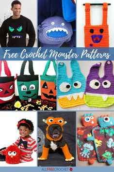 Some of these patterns are cute, some a little frightening, but mostly very silly. Find all the monsters in this collection. All Free Crochet, Crochet Baby Hats, Baby Blanket Crochet, Crochet Toys, Crochet Halloween Costume, Crochet Costumes, Halloween Crafts, Holiday Crochet Patterns, Crochet Ideas