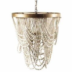 Katelyn Shabby Chic Wood Chandelier - #naturalbohochic, #chandeliers