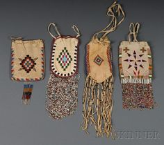 Four Apache Beaded Bags, lg. including fringe to 13