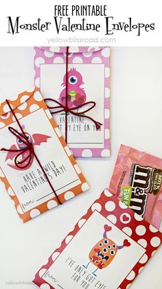 Adorable Free Printable Monster Valentine Envelope Set - perfect for small candy treats or notes