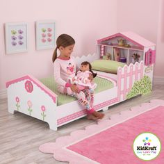 Smooth the transition from a crib to toddler bed with the KidKraft Dollhouse Toddler Bed . This adorable bed features a bookshelf headboard, bed. Girl Room, Girls Bedroom, Kid Bedrooms, White Bedroom, Kids Storage Units, Storage Shelves, Playhouse Bed, Convertible Toddler Bed, Kids Sofa