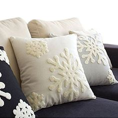 Hupplle Canvas Cotton Embroidery Throw Covers Christmas Snow Square Throw Pillow Covers White by Beauty House Christmas Cushions, Christmas Pillow Covers, Christmas Bedding, Decorative Pillow Covers, Throw Pillow Covers, Throw Pillows, Cushion Covers, Snowflake Pillow, White Snowflake