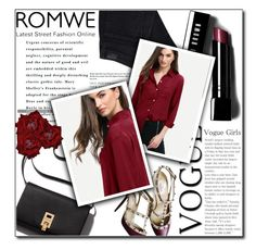 """◇ROMANTIC RED◇"" by tamsy13 ❤ liked on Polyvore featuring Paige Denim, Valentino, Bobbi Brown Cosmetics and romwe"