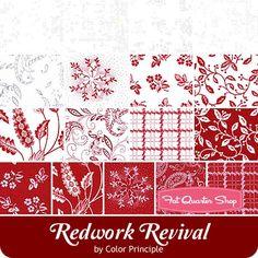 Redwork Revival Fat Quarter Bundle Color Principle for Henry Glass Fabrics - Fat Quarter Bundles   Fat Quarter Shop
