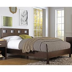 Modus Furniture RV26F5 Riva Platform Bed, Queen, Chocolate Brown * Continue to the product at the image link.