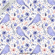 Cute hand drawn bird with flowers background