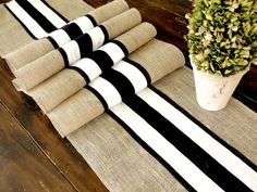 Obsessed with rustic chic decor. Love the black and white with the burlap! Burlap table runner wedding table runner with black and white French stripes, rustic chic table decor , handmade in the USA. Burlap Projects, Burlap Crafts, Lace Runner, Striped Wedding, Wedding White, Burlap Table Runners, Deco Table, Decoration Table, Black Decor