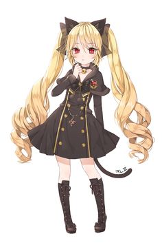 animal_ears bell blade_&_soul blonde_hair boots canape_(canape0130) cat_ears curly_hair dress highres jingle_bell knee_boots long_hair lyn_(blade_&_soul) red_eyes ribbon tail twintails very_long_hair