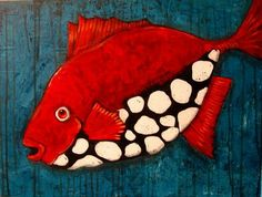 Painting of red fish white organic spots dots blue background S. Clay Fish, Red Fish Blue Fish, Fish Quilt, Underwater Art, Fish Design, Design Design, Fish Art, Whimsical Art, Fabric Painting
