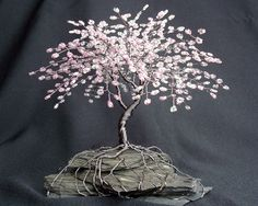 Cherry Blossom Beaded Bonsai Wire Tree Sculpture Bent Trunk Spring Colors - MADE TO ORDER Custom. $90.00, via Etsy.