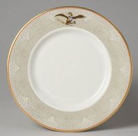 "State dinner service of Lyndon Baines Johnson (President 1963-1969)--Entree or Fish Plate/Made in New Castle, Pennsylvania c.1968--Designed by Van Day Truex, André Piette and Claudia Taylor ""Lady Bird"" Johnson, American, 1912 - 2007. Made by Castleton China, subsidiary of Shenango Pottery Co., New Castle, PA, active 1939 - 1976. Ordered from Tiffany & Company, New York, 1853 - present. Porcelain with printed, enamel"