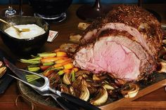 Mustard-Seed-Crusted Prime Rib Roast with Roasted Balsamic Onions / Marcus Nilsson