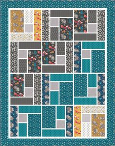 Mama and Me - Whimsical Free Quilt Pattern by Camelot FabricsWhimsical Quilt designed by Larene Smith of The Quilted Button for Camelot Fabrics, Featuring Mama & Me Collection by Andrea Turk of Cinnamon Joe StudioWould be a great pattern for a seasonal wa Big Block Quilts, Strip Quilts, Boy Quilts, Quilt Blocks, Boys Quilt Patterns, Modern Quilt Patterns, Quilting Patterns, Quilting Ideas, Beginner Quilt Patterns Free