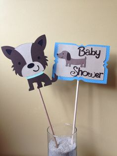 2 PuppyThemd Baby Shower Centerpieces Puppy themed by MiaSophias, $5.00