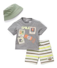 Another great find on #zulily! Gray 'Smile' Photo Crewneck Tee Set - Infant #zulilyfinds