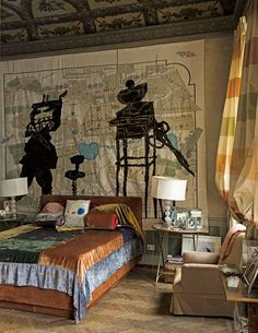 Dramatic bedroom with multicolored spread and fabulous map with robots as the headboard/wall. Photos of Osanna Visconti di Modrone's Milan Home - Jewelry Designer Osanna Visconti di Modrone - Town & Country Magazine Interior Architecture, Interior And Exterior, Modern Exterior, Home Bedroom, Bedroom Decor, Town And Country Magazine, Tapestry Bedroom, Wall Tapestry, Night At The Museum