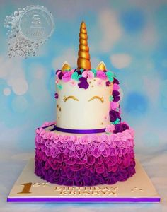 Unicorn Cake by Beata Khoo in Brighton UK Toddler Birthday Cakes, Cute Birthday Cakes, Cake Designs For Girl, Personalised Cakes, Foto Pastel, Little Pony Cake, Birthday Cake Decorating, Girl Cakes, Homemade Cakes