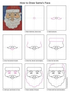 Art Projects for Kids: How to Draw Santa's Face - keep the kids busy with art activities at the Christmas fayre Christmas Art Projects, Winter Art Projects, Projects For Kids, Christmas Crafts, Christmas Art For Kids, Winter Christmas, Christmas Lights, Christmas Cookies, Drawing Lessons
