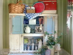 Summer Decorating for Hoosier Cabinet