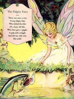 FIDGITY FAIRY Vintage 1920 Full Page Illustration with Nursery Rhyme