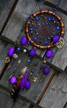 Fairy magic elvish night dreamcatcher with violet silk cocons, amethyst and…Dream Catcher Tree of life blue Dreamcatcher turquoise Dream сatchers blue turquoise dreamcatchers decor wall handmade gift Valentines Day ********************Home Decor - Entr Dream Catcher Art, Dream Catcher Mobile, Sun Catcher, Beautiful Dream Catchers, Diy Wind Chimes, Elvish, Violet, String Art, Amethyst