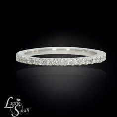 Diamond Wedding Band, 14kt White Gold Prong Set Diamond Half Eternity Wedding Band - LS2794