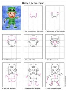 how to draw a leprechaun pdf tutorial available artprojectsforkids leprechaun howtodraw