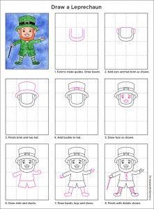 How to draw a Leprechaun. PDF Tutorial available. #artprojectsforkids #leprechaun #howtodraw