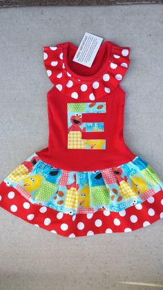 Size 4T New ELMO COLORFUL ANGEL SLEEVES DRESS