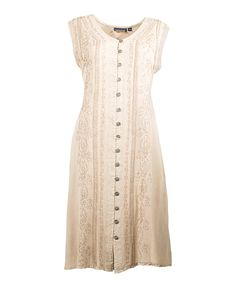 This Coline USA Beige Embroidered Button-Up Sleeveless Dress by Coline USA is perfect! #zulilyfinds