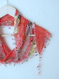 Turkish YEMENI Oya Scarf weddingbridalscarfauthentic by asuhan, $19.80