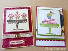 A Christy Production - Stampin Up Hostess Set A Cherry On Top, Lacy Brocade Embossing Folder, Primrose Petals, Raspberry Ripple, Midnight Muse, Gumball Green, Ribbon Slides