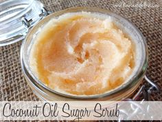 I need to use the coconut oil i have. COCONUT OIL SUGAR SCRUBS made with essential oils or fruit zest. Coconut Oil Sugar Scrub, Homemade Coconut Oil, Homemade Scrub, Sugar Scrub Recipe, Sugar Scrub Diy, Coconut Oil Uses, Coconut Oil For Skin, Sugar Scrubs, Salt Scrubs