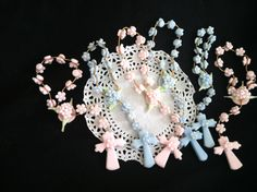Baby Girl Baptism Favors, Baptism Rosary Favor, Rosaries in White, Pink or Blue, Mini Rosaries Favors, Baptism Mini Rosary, Baby Boy Baptism