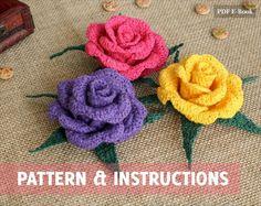 Crochet Rose PATTERN - Vieng Ping Rose - Easy Crochet Flower ...