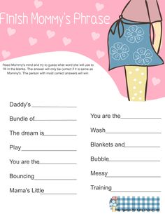 free printable finish mommy's phrase game for baby shower in pink color
