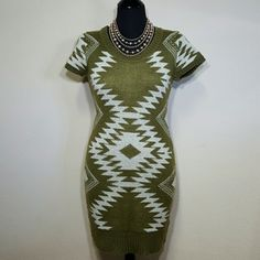 NWT! Super cute sweater dress! New with tags, never worn! Aztec print sweater dress by liv! It's short sleeved with a keyhole opening in the back. The colors are army green and cream. Received it as a Christmas gift, but it's too big for me. Size small. No trades! liv Dresses