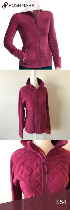 """Prana Dee Dee Fleece Jacket Plum Red Super soft micro fleece made from recycled polyester Pretty plum red color XL New Approximate measurements taken flat- 20"""" across chest 26-27"""" length Prana Jackets & Coats"""