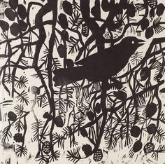 "Enchanted Pine 1, 24"" x 24"" woodcut by Kent Ambler"