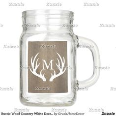 Rustic Wood Country White Deer Antlers Monogram Mason Jar