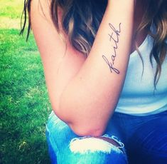 Faith tattoo Maybe on the inside of my upper arm that would be soo cute can't…