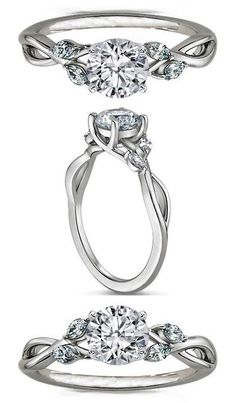 Floral Diamond Engagement Ring Marquise Vine in 14K White Gold.... But I want Gold Gold!!!!!