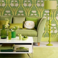 amy butlergreen living room modern ideal home Choosing A Color: Chartreuse Living Room Green, Green Rooms, My Living Room, Living Room Decor, Modern Contemporary Living Room, Living Room Modern, Small Living, Interior Exterior, Interior Design
