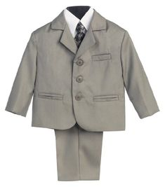 5 Piece Light Gray Suit with Shirt, Vest, and Tie