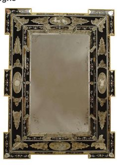 2 Italian Layered Glass Wall Mirrors with Neoclassical Designs