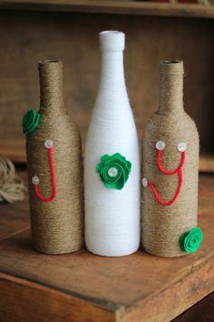 Christmas holiday decoration-wine bottles and twine -JOY-Centerpiece
