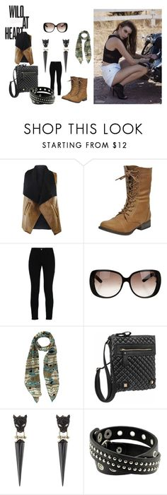 """""""Wild at Heart"""" by luxurydivas on Polyvore featuring STELLA McCARTNEY, Gucci, Alexis Bittar, Boots, sunnies, crossbodybag, scarf and motojackets"""