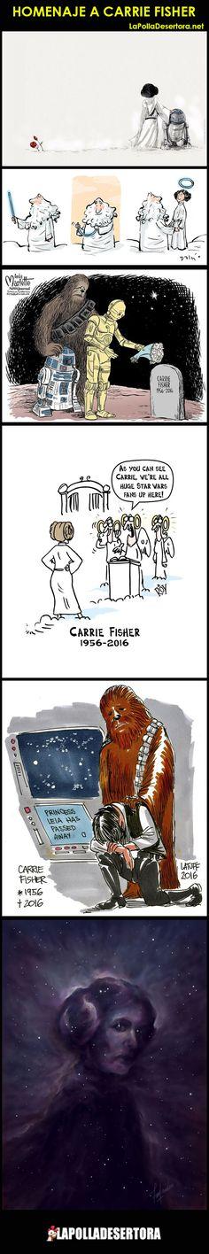 Artistas varios en emotivo homenaje a Carrie Fisher.    Descontento, penar y asombro de millones de fans de Carrie Fisher y del papel que la hizo inmortal, la Princesa Le