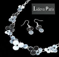 Set Kette Ohrringe Halskette Schmuckset Collier Emaille/Strass Versilbert Blumen