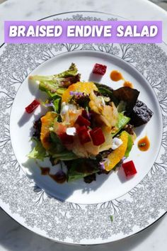 This salad is a combination between bitter and sweet with soft braised endives with notes interuped by bursts of orange flavor. #bitter #sweet #endives #orange #beets #salad #rawvegan #healthyrecipe Raw Vegan Recipes, Vegan Gluten Free, Vegetarian Recipes, Healthy Recipes, Eat Pretty, Balsamic Reduction, Orange Salad, Roasted Beets
